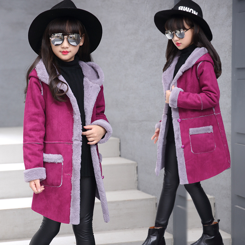 2016 Girls Winter Coat with Fur Long Jacket Girls Outerwear Coats Children Jackets for Girls Warm Coats Clothing  Wool Kids B471
