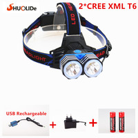 Rechargeable CREE xmlT6 led Headlamp headlight Light lighting lantern lamp +2*18650 battery+1*AC/charger+1*USB charger