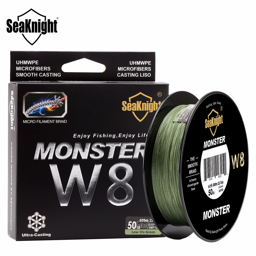 SeaKnight  W8 Braided Fishing Line 500M  8 Strands Wire 15 20 30 40 50 80 100LB PE Multifilament Line  Fishing