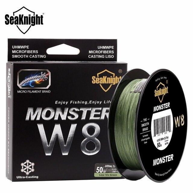 Seaknight monster w8 linha trançada de pesca, 500m/546yds, 8 tece, 20 100lbs, suave, pe, multifilamento, para pesca no mar