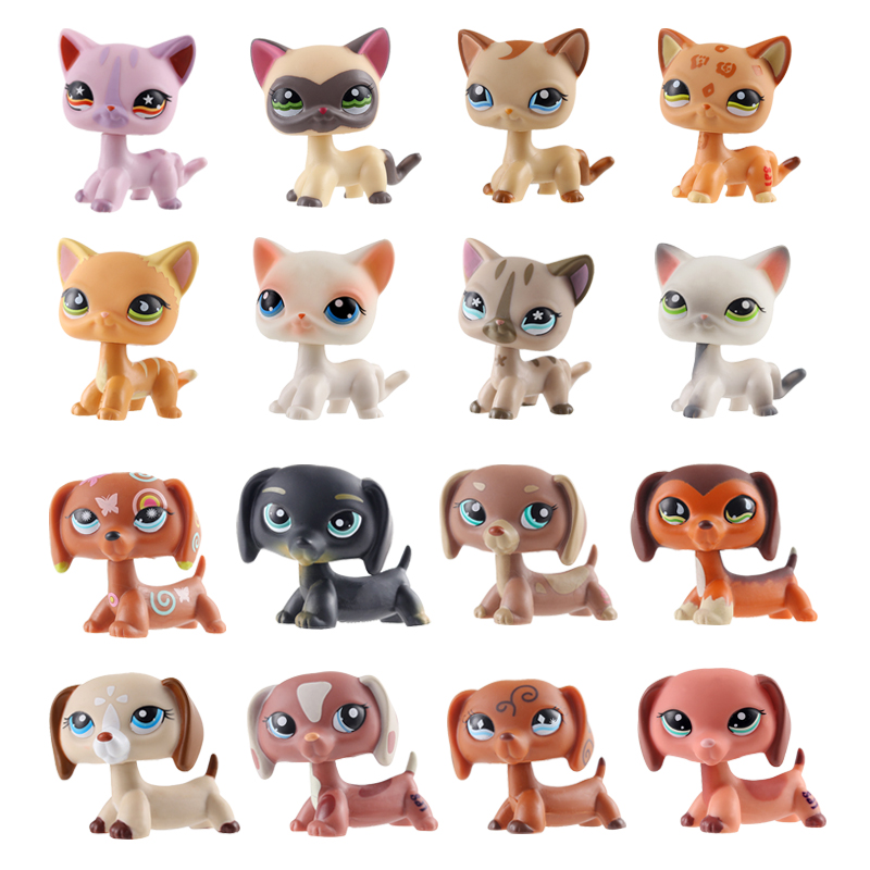 LPS Brand New Cute Pet Shop Toys Powder Cat Big Dan Dog PVC Small Animal Standing Action Children Cute Christmas Gift Present