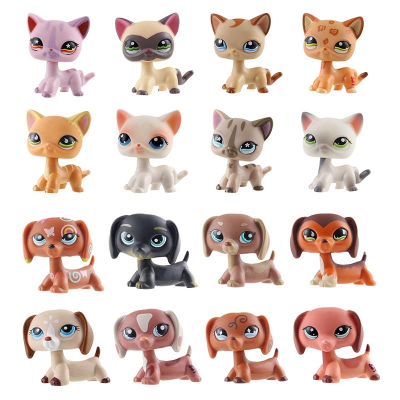 LPS Brand New Cute Pet Shop Toys Powder Cat Big Dan Dog PVC Small Animal Standing Action Children Cute Christmas Gift Present