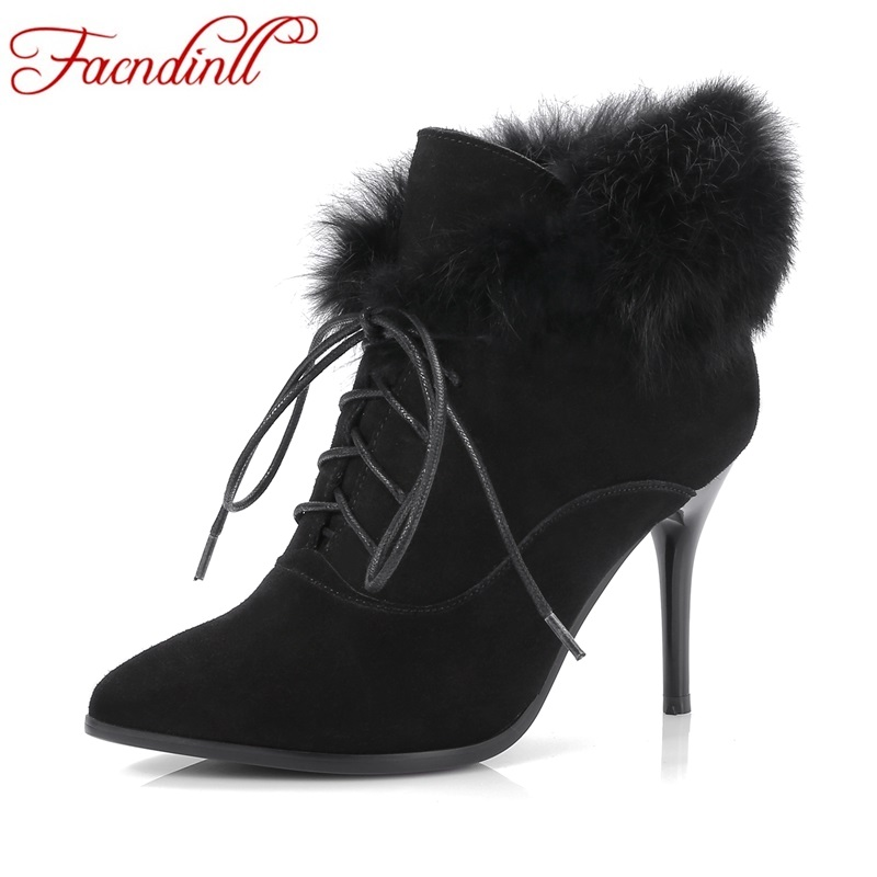 FACNDINLL shoes 2017 genuine leather women ankle boots sexy thick high heels pointed toe lace up shoes woman dress party shoes facndinll new black patent genuine leather pointed toe rhinestone sexy high heels lace up women pumps ladies party casual shoes