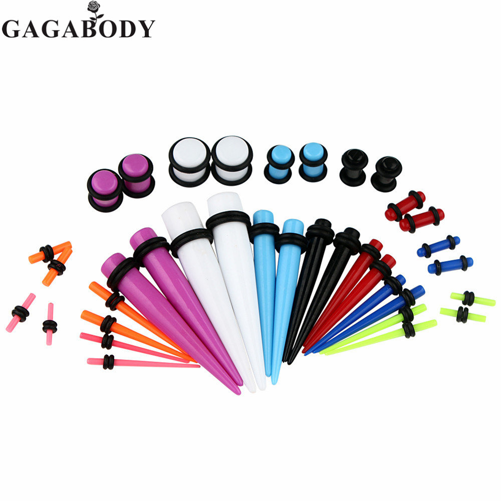 Christmas Gauges Kit 36 Pieces Mix Colors Acrylic Tapers & Colors Acrylic Ear Plugs 14G - 00G Stretching Kit - Assorted 18 Pairs