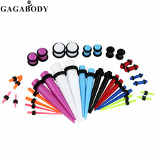 Christmas Gauges Kit 36 Pieces Mix Colors Acrylic Tapers & Colors Acrylic Ear Plugs 14G - 00G Stretching Kit - Assorted 18 Pairs(China)