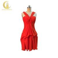 JIALINZEYI Real Amostra Laranja Vermelho plissado Cruz Chiffon Comprimento Mini Vestido de Festa Vestido de Baile Da Dama de honra Vestidos de 2018