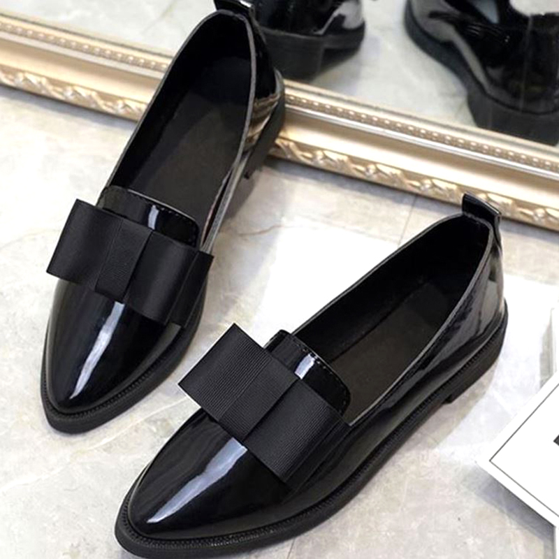 Women Flats Bowtie Loafers Shoes Women Ballet Flats Pointed Toe Shoes Patent Leather Elegant Low Heels Slip On Flat Shoes Woman 2018 women shoes comfort pointed toe patent leather ballerina ballet flats portable travel flats summer slip on shallow shoes
