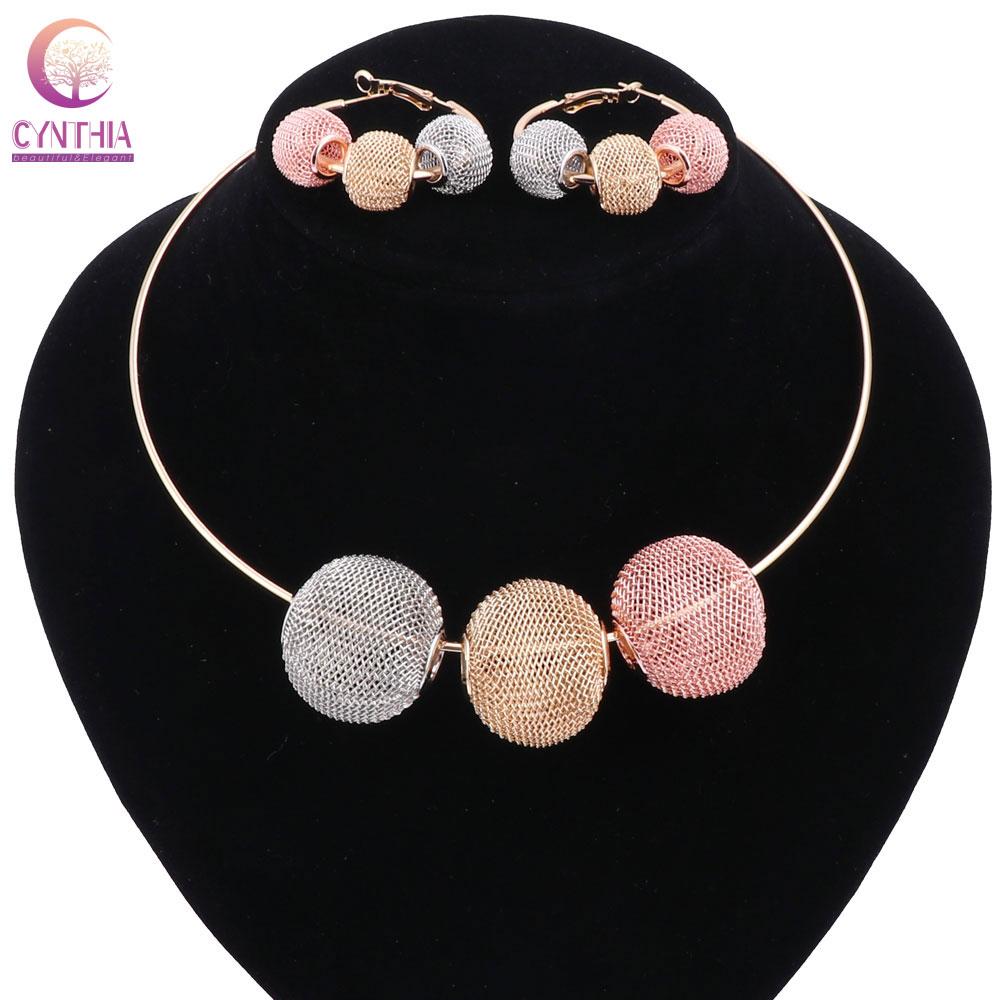 Frauen Gold Farbe Sphärische hohle Boho Rot Gold Grau Kristall Schmuck Sets mit Ohrringen Statement Halskette für Party Halskette