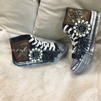 Spring and Autumn New Punk Nail Pearl Drill Hip Canvas Shoes Girls Student Board Shoes
