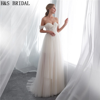 H&S BRIDAL Cheap simple wedding dress off the shoulder light summer beach wedding gowns dresses for wedding party