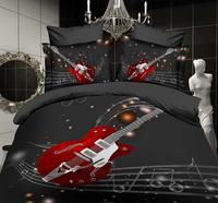 Musical Electric Guitar Bedding Set Bedclothes Bed Sheets for Men Boys Bed Sheets Woven Full Queen Size Black White Color Modern