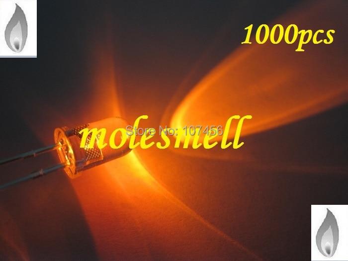 free shipping 1000 x 5mm Orange Candle Light Flicker Ultra Bright Flickering orange LED Leds 5mm