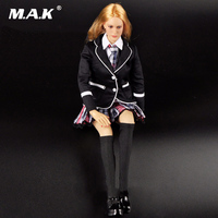 1:6 Beautiful Female School Girl Student Uniform Black Suit Section Full Set Head Sculpt & Body & Clothing Accessories DIY Doll