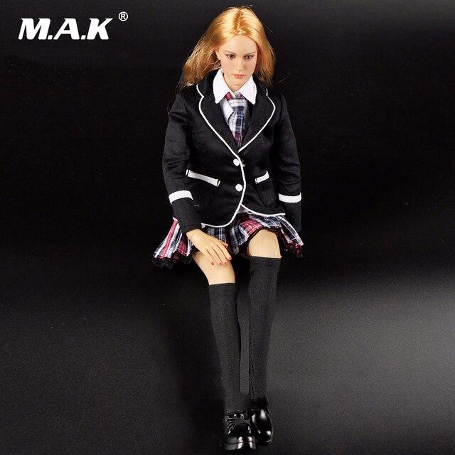 1:6 Beautiful Female School Girl Student Uniform Black Suit Section Full Set Head Sculpt & Body & Clothing  Accessories DIY Doll