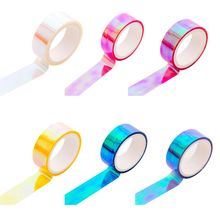 купить Glitter Rainbow Laser Washi Tape Stationery Scrapbooking Decorative Adhesive Tapes DIY Masking Tape по цене 18.21 рублей