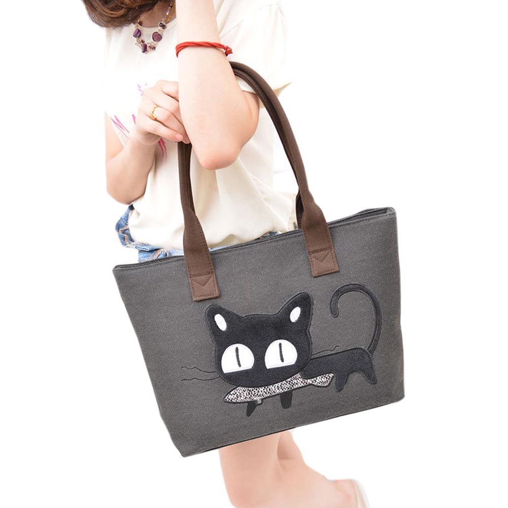 Canvas Shoulder Crossbody Shopping Bag Casual Cartoon Cat Women Handbag Women Messenger Lunch Bag Tote