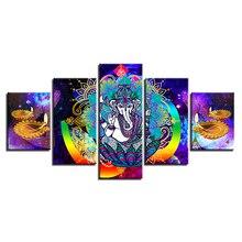 5 pcs,Full Square 5D DIY Diamond Painting India Ganesha Elephant God Full diamond Embroidery Cross Stitch Rhinestones Y2472