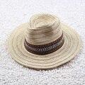New Vintage chapéu de palha com banda personalidade Unisex Khaki Summer Beach Fedora chapéu de sol mulheres Cowboy tampas atacado [ HUB280 ]