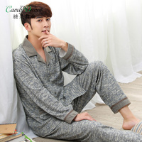 Spring and autumn knitted 100% male cotton casual plus size sleep set quinquagenarian cardigan 100% cotton lounge