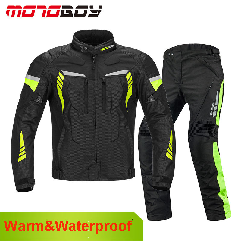 MOTOBOY Professional Motorcycle Jacket Waterproof Pants Winter Warm Windproof Motocross Clothing Motorbike Suits CE Protection