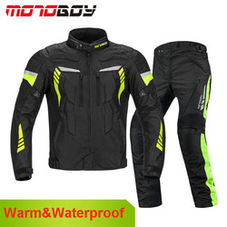MOTOBOY Professional Motorcycle Jacket Waterproof Pants Winter Warm Windproof Motocross Clothing Motorbike Suits CE Protection