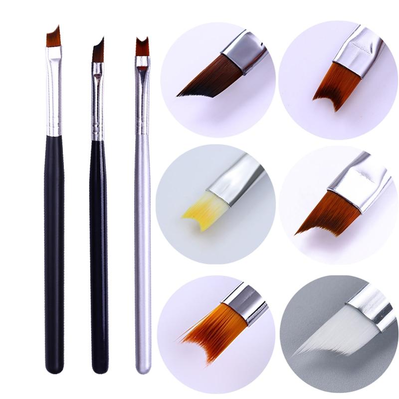 8/7/5/3/1Pc Acrylic French Tip Nail Brush Half Moon Shape Drawing Pen Handle Manicure UV Gel Painting Nail Art Tools