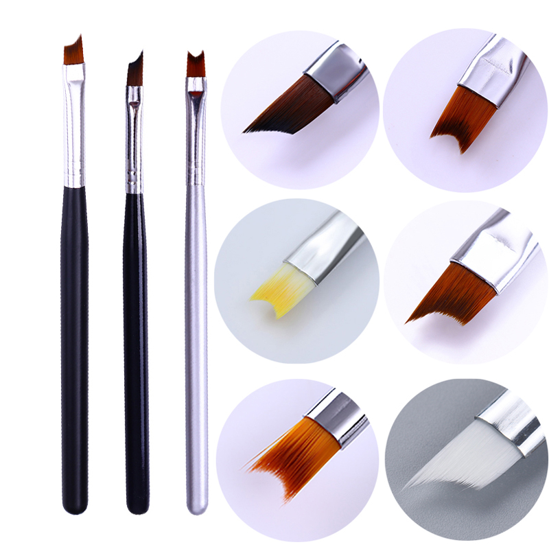 8/7/5/3/1Pc Acrylic French Tip Nail Brush Half Moon Shape Drawing Pen Handle Manicure UV Gel Painting Nail Art Tools