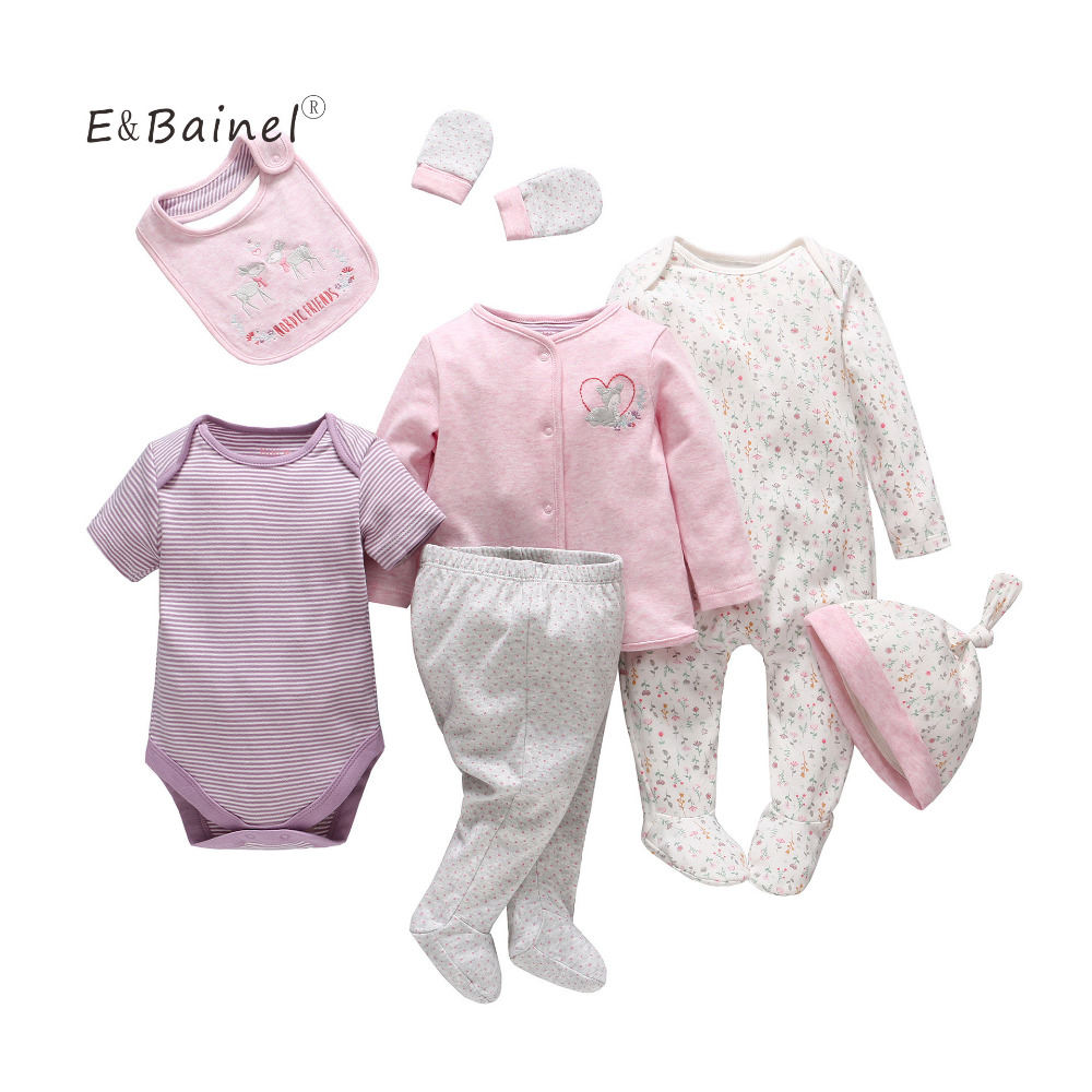 E&Bainel 7pc/Set Summer Flower Baby Girl Clothing Baby Rompers Short Sleeve Kid Clothes Baby Clothes Set Cotton Girl Romper Suit 2017 summer baby rompers tuxedo shortall jumpsuit bebe clothing two piece set vest bowtie baby braces rompers kid clothes