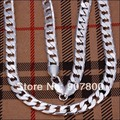 N034 factory price! Top quality silver plated chain necklace 8MMX20inches Fashion Men's Jewelry DHL Free Shipping 100pcs/lot