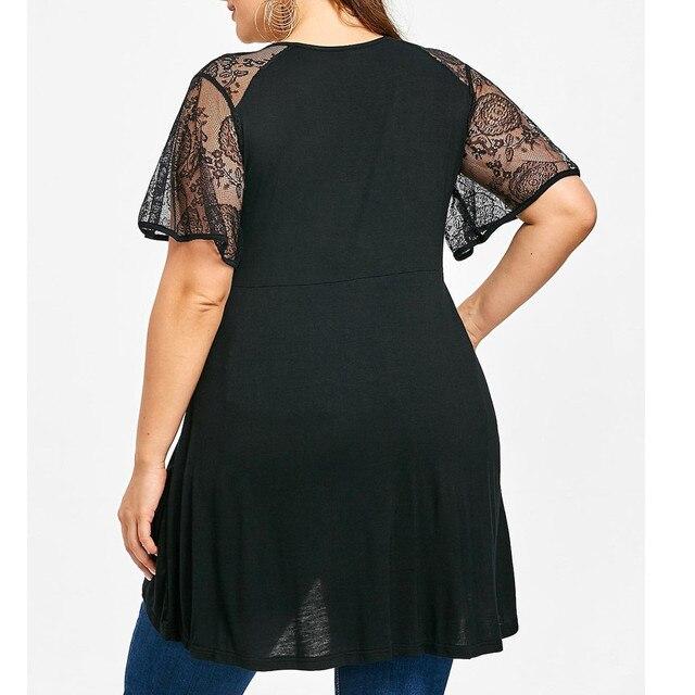 XL-5XL Plus Size Fashion Women V-Neck Lace Cold Shoulder Ladies Loose Shirt Tops Casual Short Sleeve Blouse Summer Female Blusa 1