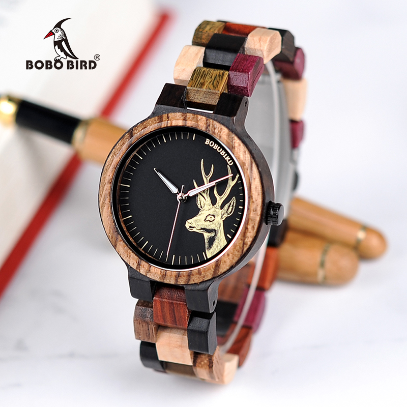 BOBO BIRD Bamboo Wooden Watches Women Elk Wrist Watch Deer Quartz ladies in gifts box erkek kol saati