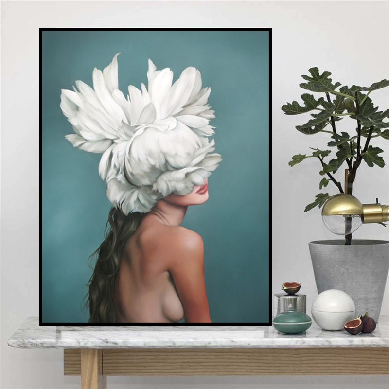 Abstract-Flower-Avatar-Girl-Canvas-Painting-Wall-Painting-Print-Poster-Wall-Art-Bedroom-Living-Room-Modern (2)
