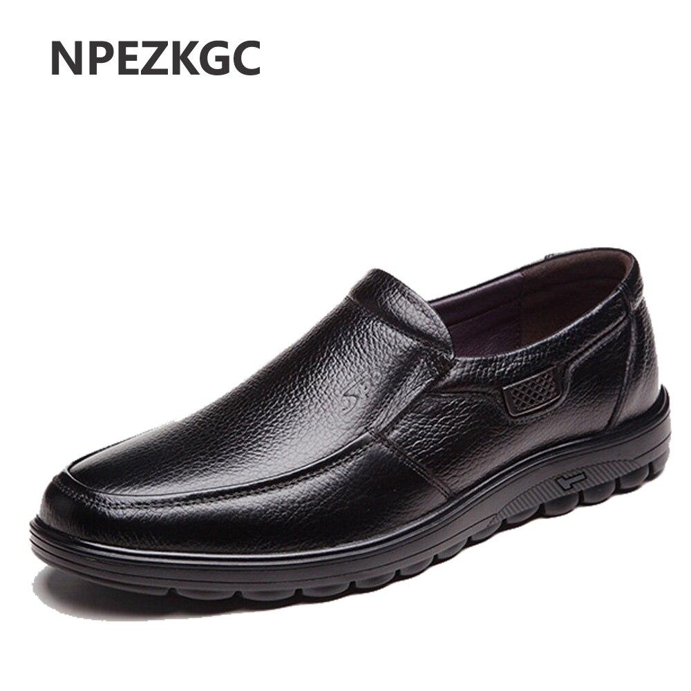 NPEZKGC Новинка 2019 г. осень зима теплый мех Высокое качество пояса из натуральной кожи обувь для мужчин туфли без каблуков модные