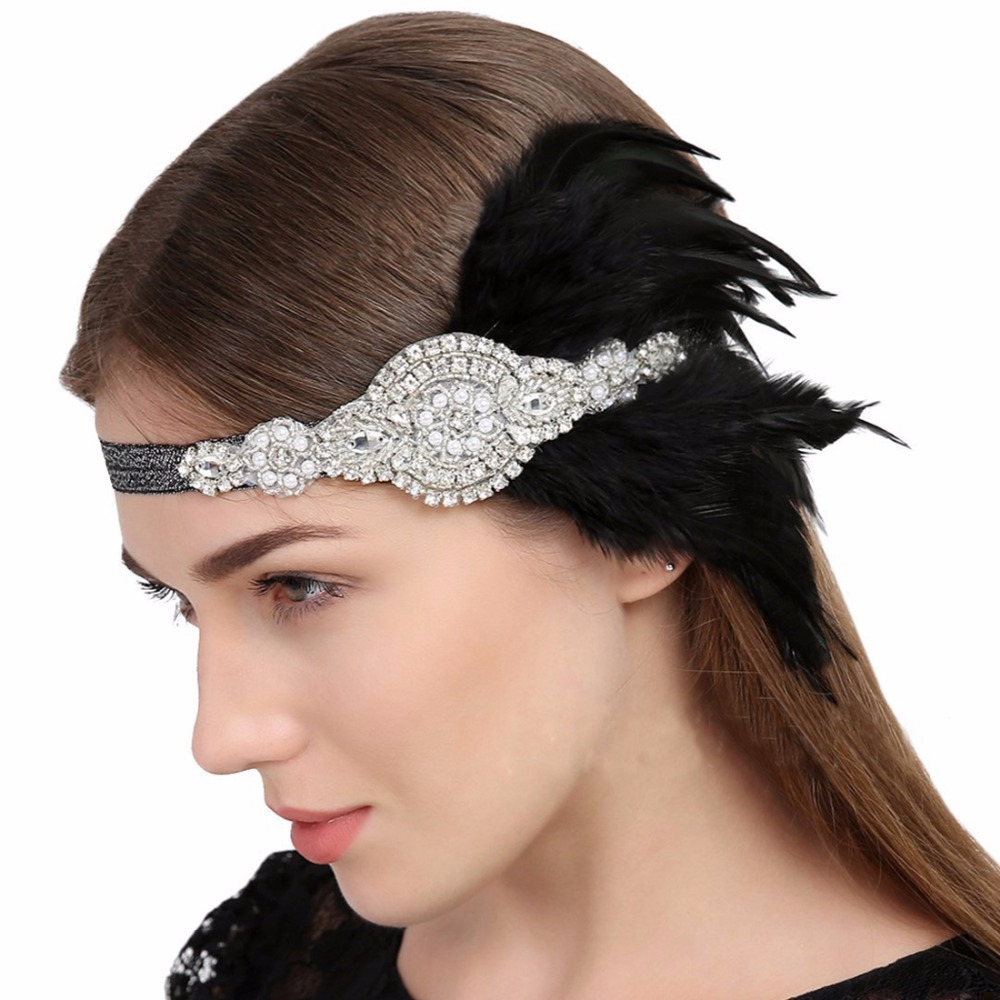 Hair Accessories Black Rhinestone Beaded Sequins Hair band 1920s Vintage Gatsby Party Headpiece Women Flapper Feather Headband