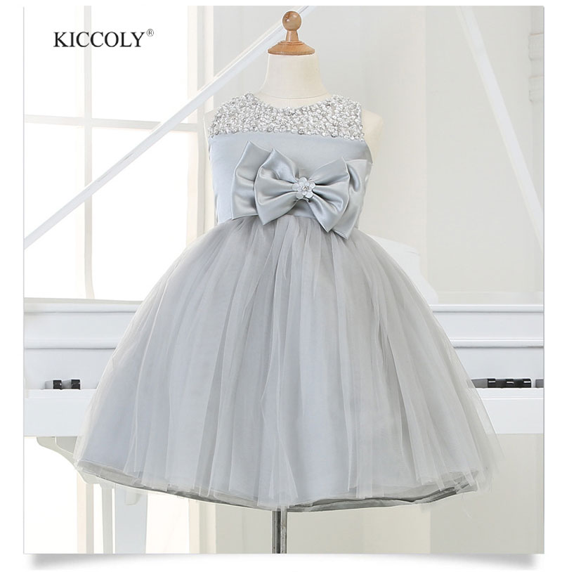 2015 Silver tulle Princess Girl Party Dresses Sequined Big Bow Tutu Wedding Dress for Christmas Birthday clothes 12M-12Y