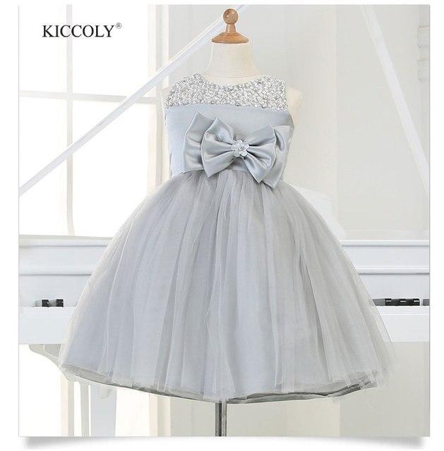 Серебряное платье из тюля для девочек на вечеринку модель 2015 года Юбка пачка туту с большим бантом и блестками на рождество свадьбу день рождения на возраст от 1 года до 12 лет