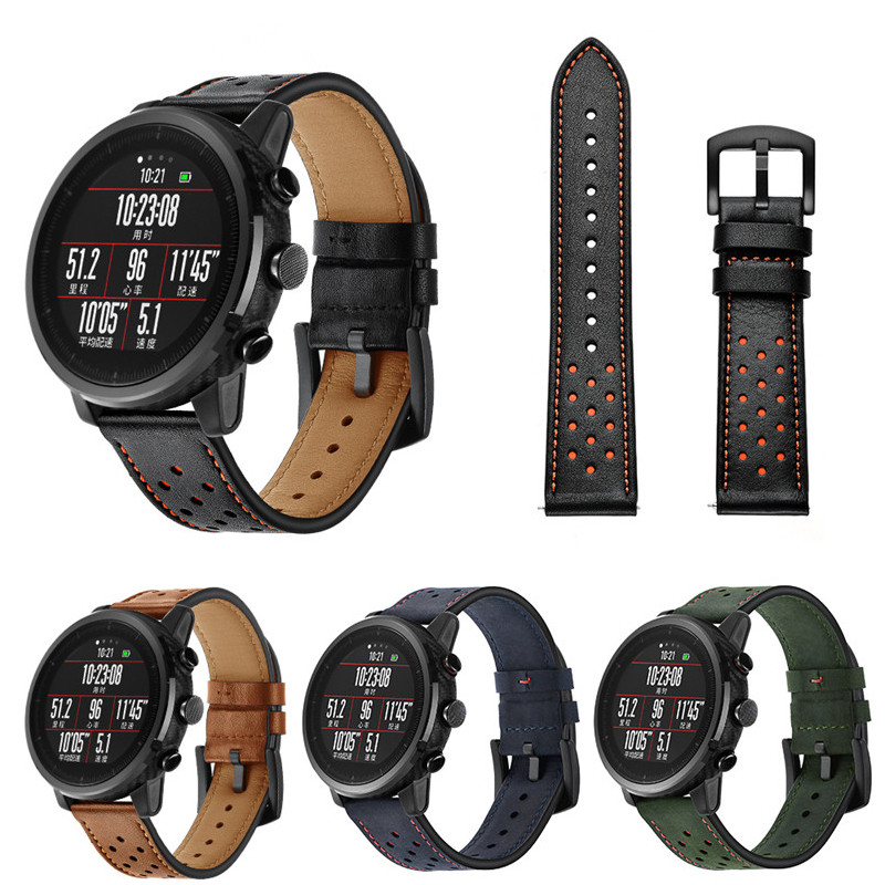 SIKAI 22mm Leather Bracelet For Huami Amazfit Stratos 2/2S Sport Smartwatch Band For Huami Amazfit Stratos Pace Wristband Straps sikai 22mm soft silicone watch band with protective case for huami amazfit pace bracelet case smartwatch band wristband straps