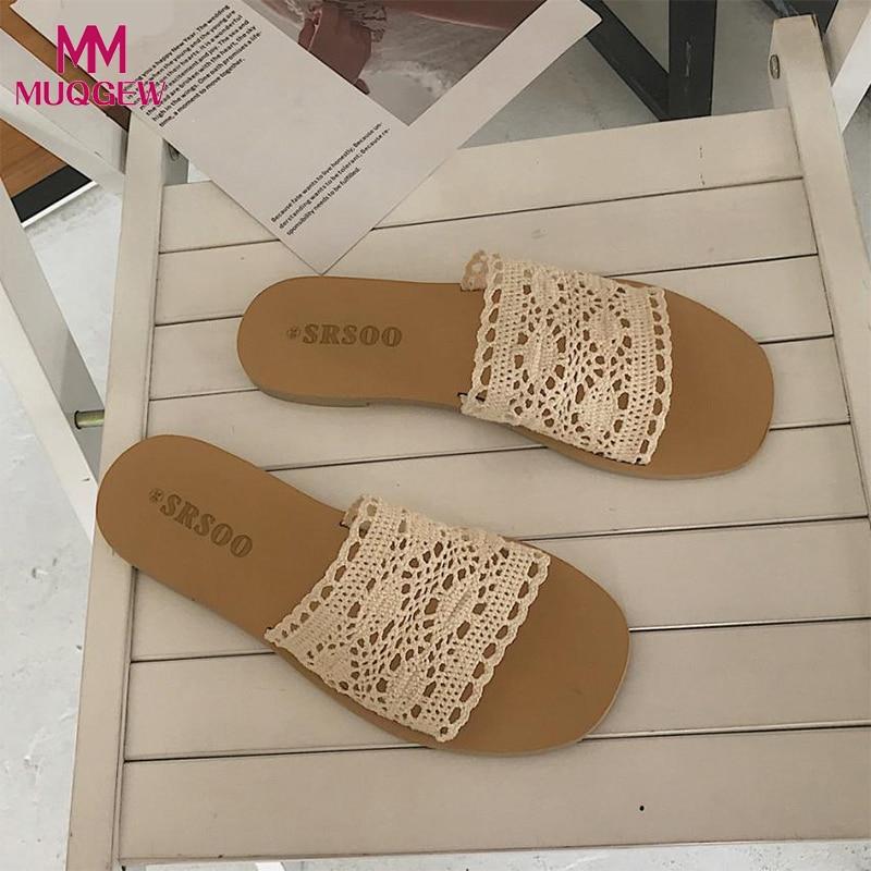 Для женщин летние полые обувь Туфли без каблуков в богемном стиле шлепанцы для улицы Для женщин Модные женские Босоножки с открытым носком ...
