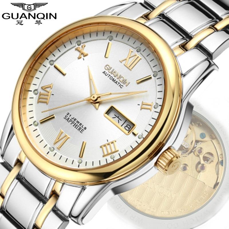 Brand GUANQIN Men Watch Luminous Mechanical Watch 30m Waterproof Watch Luxury Sapphire Analog Big Dial Men Wrist Watches Clock цена 2017