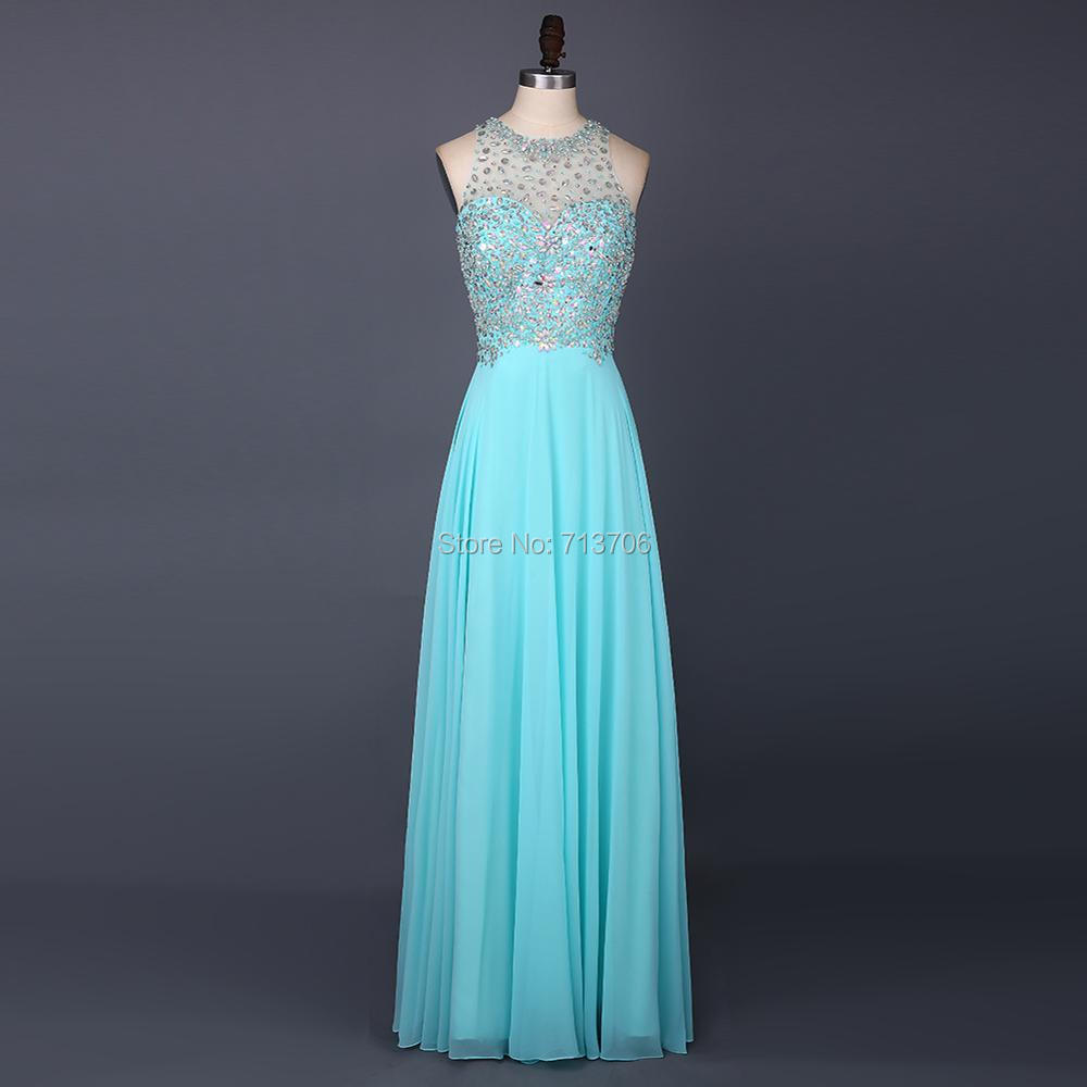 Menoqo Beautiful Evening Dresses 2017 Sheer O Neckline Beaded ...