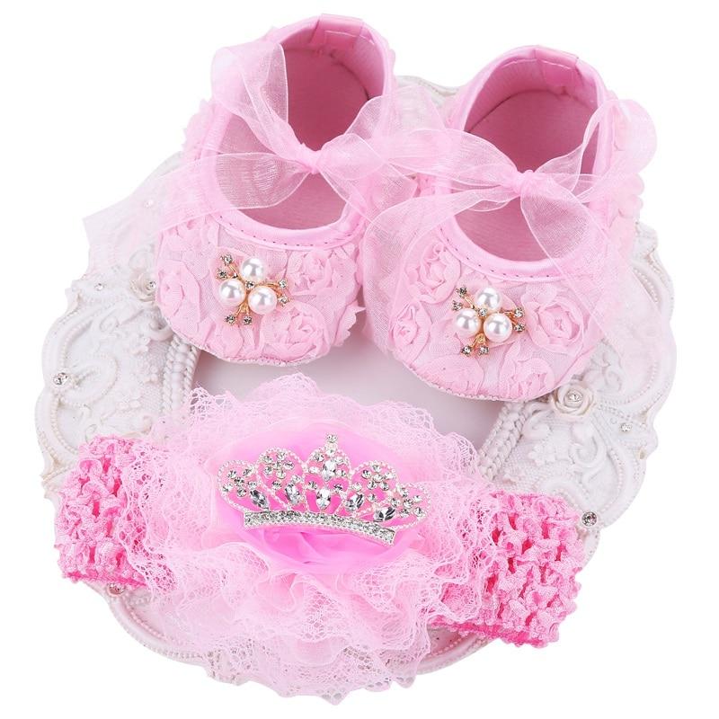 ccbe1f3f99ca0 Christening baptism newborn baby girl shoes headband set,toddler ...