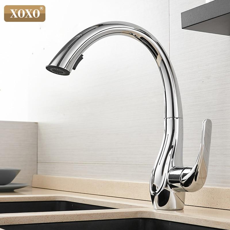 Xoxo torneira da cozinha puxar para fora fria e quente de ouro único punho 360 graus misturador água da cozinha 83038