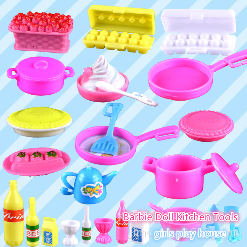 Girls Toys Play House Mini Simulation Tableware 1/6 Dolls Kitchen Pots And Pans Dishes Glasses Cutlery For Barbie Doll
