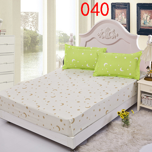 Beige Star Polyester Fitted Sheet Single Double Bed Sheets Fitted Cover  Full Queen Mattress Cover Bedspread