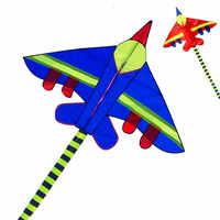 Freies verschiffen hohe qualität 3 m lange air flugzeug kite fliegen spielzeug nylon ripstop kämpfer kite mit griff linie wei kite elf flugzeuge