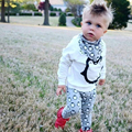 Baby Boy Girl Clothes Sets Lovely Penguin Cotton Kids Outfit Long Sleeve Tops T Shirt And Pants Headband Printed Clothing Set