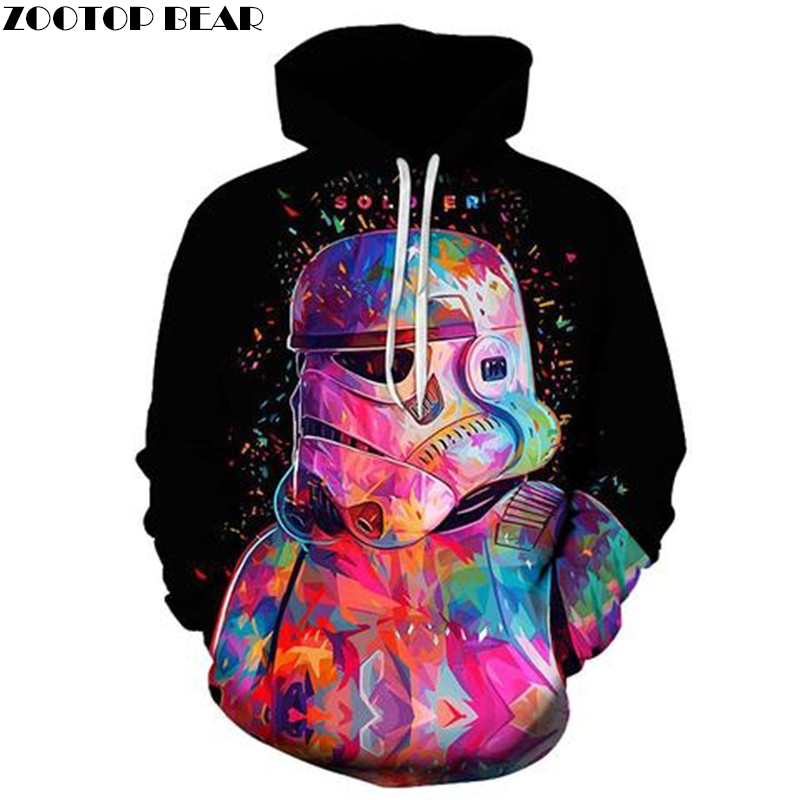 2018 New  Print Astronaut Hoodies Men 3D  Sweatshirts Women  Brand Pullover Fashion Tracksuits Tops  Drop Ship ZOOTOP BEAR