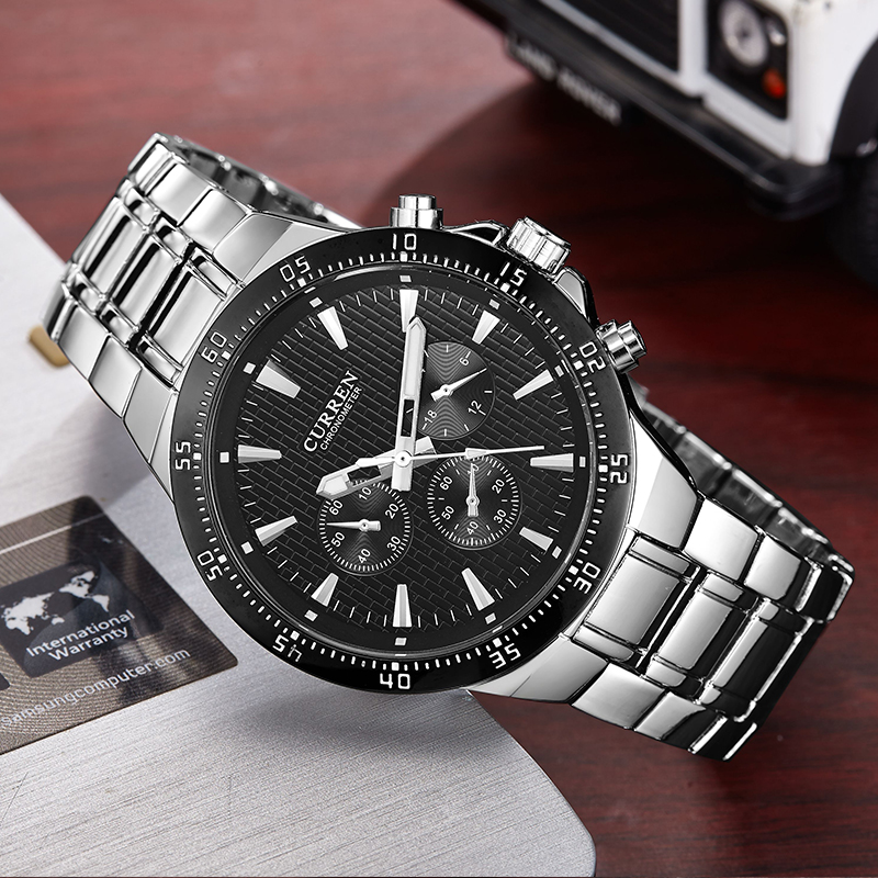 CURREN Watch Men Fashion Sport Quartz Clock Mens Watches Top Brand Luxury Full Steel Business Waterproof Watch Relogio Masculino new fashion men business quartz watches top brand luxury curren mens wrist watch full steel man square watch male clocks relogio