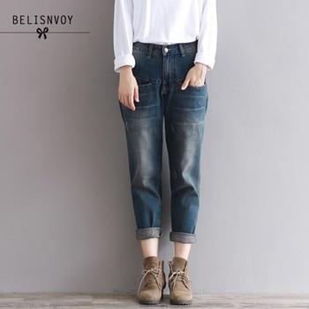 2589acfb026 2019 pantalones Vaqueros de mezclilla para Mujer Pantalones sueltos  informales de algodón de talla grande Vintage novio Jeans Mujer