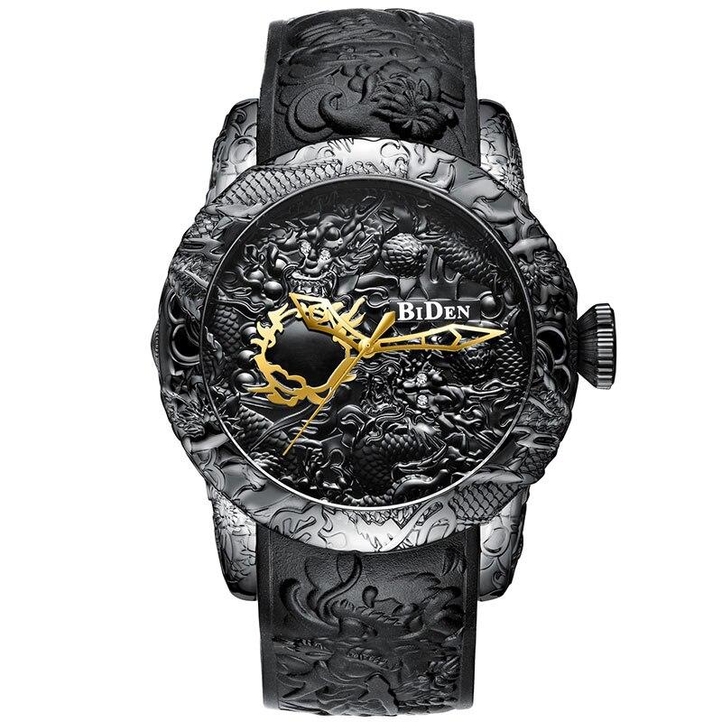 Black Men Watches Fashion 3D Engraved Dragon Relogio Masculino Luxury 2018 Top Brand Quartz Watch Waterproof Sport Male Clock Karachi